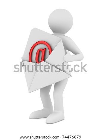 postman with open envelope. Isolated 3D image - stock photo