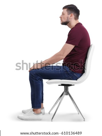 Posture Concept Man Sitting On Chair Stock Photo 610136489