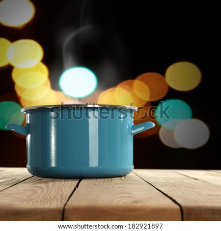 pot and lights in dark decoration