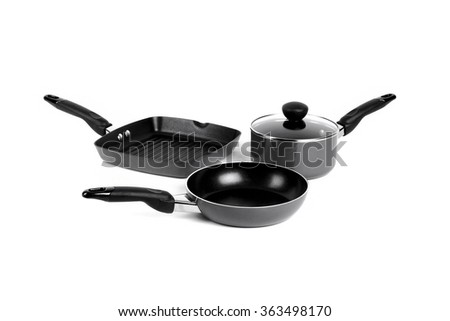 Pot, Frying Pan and Grill Pan, kitchenware - stock photo