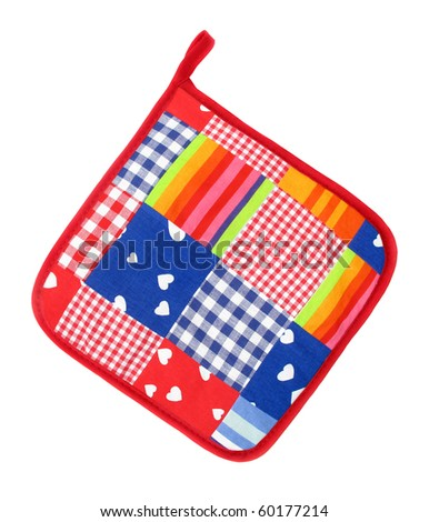 Pot holder lovely colorful and white with hearts and stripes - stock photo