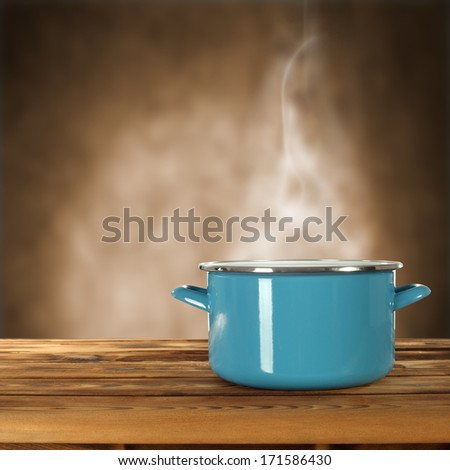 pot in kitchen and free space  - stock photo