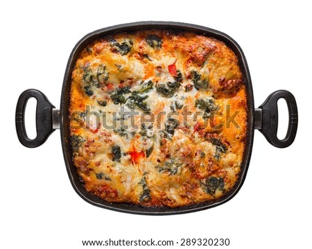 pot lasagna isolated on white background, view from above - stock photo