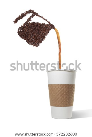 Pot Made of Beans Pouring Coffee into Paper cup - stock photo