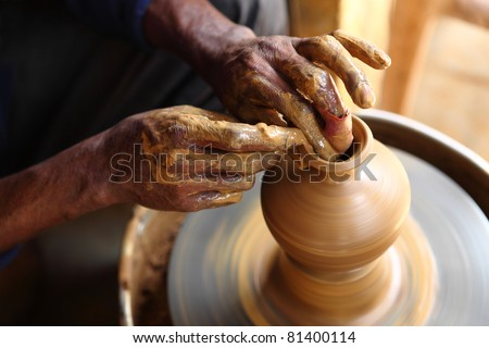 Pot Making - stock photo