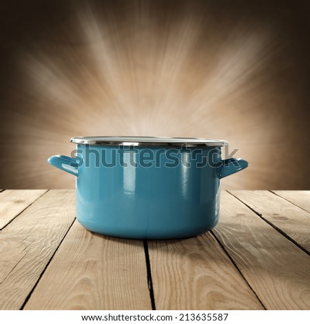 pot of blue and table