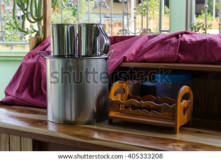 Pot of boiled coffee in Thailand - stock photo