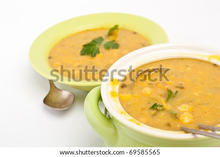 pot of chickpea and lentil moroccan soup - stock photo