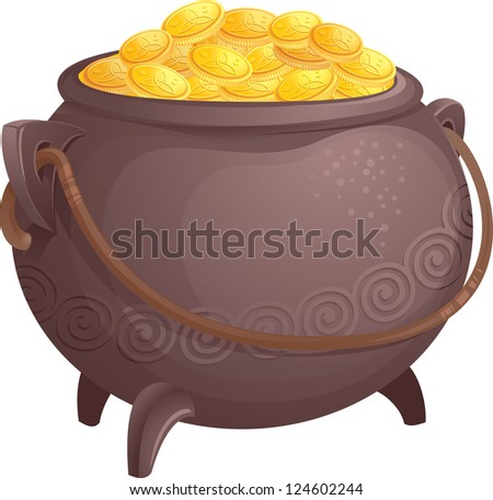 Pot of gold - stock photo