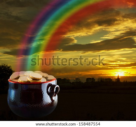 Pot of gold at the end of the rainbow - stock photo