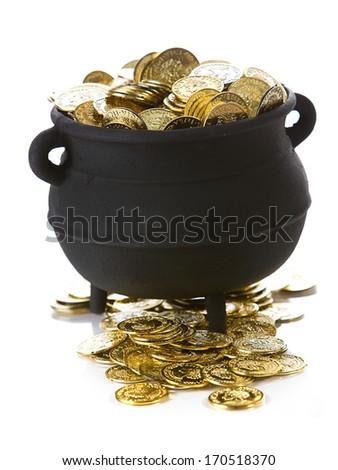 Pot Of Gold: Pot Full Of Gold Coins - stock photo