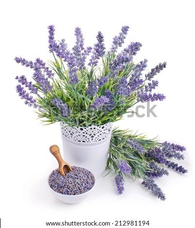 pot of lavender and bowl of dried flowers isolated on white - stock photo