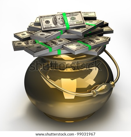 Pot of money isolated on white background. High quality 3d render.