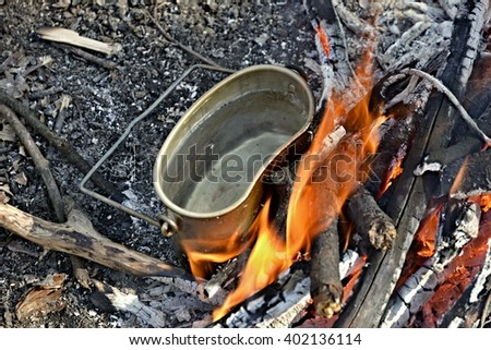 pot on the fire with water