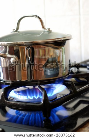 Pot on the gas stove - stock photo