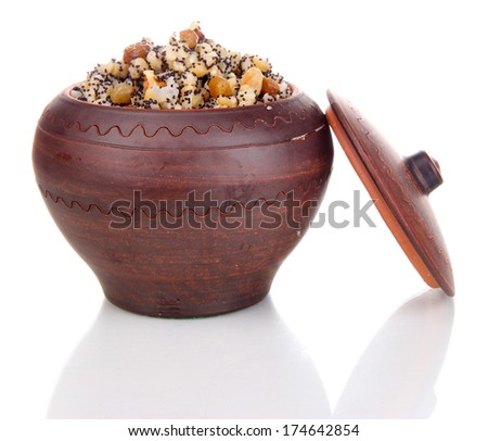 Pot with kutia -  traditional Christmas sweet meal in Ukraine, Belarus and Poland, isolated on white - stock photo
