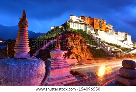 Potala palace in Lhasa. Tibet, China. - stock photo