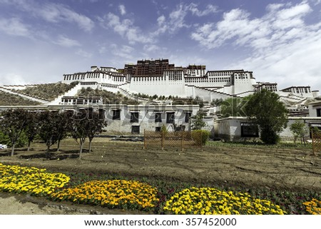 Potala palace in Lhasa, Tibet. Potala palace is now a museum and World Heritage Site of Tibet Autonomous Region. - stock photo