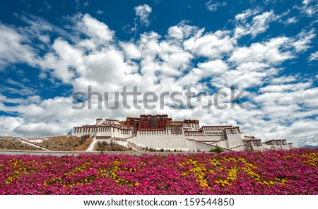 Potala palace in Tibet with flowers foreground (front view) - stock photo