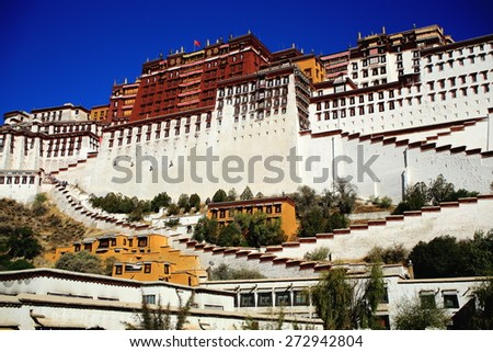 Potala palace with the Potrang Karpo and Marpo-Red and White palaces to the E.and W.at 3700 ms.high over Marpo Ri-Red Hill overlooking Lhasa-Tibet. - stock photo
