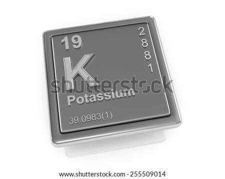 Potassium. Chemical element. 3d - stock photo
