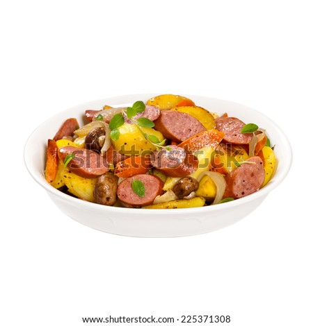 Potato and Sausage Dinner. Isolated on white background. Selective focus. - stock photo