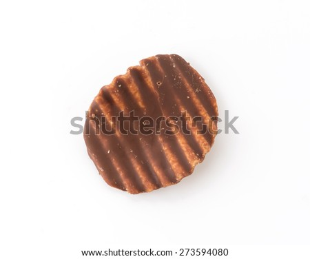 potato chip with chocolate on white
