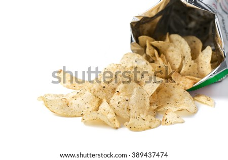 potato chip with seaweed isolated on white - stock photo