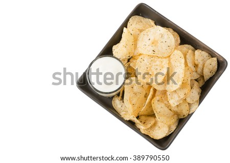 potato chip with sour cream isolated on white - stock photo