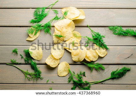 potato chips and dill - stock photo