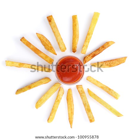 Potato chips and ketchup over white background - stock photo