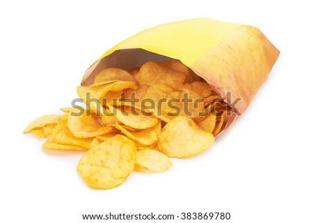 Potato chips bag isolated on white background - stock photo