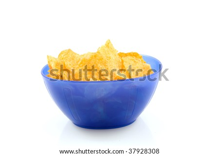 potato chips Bolognese in blue plastic bowl, isolated on white background - stock photo