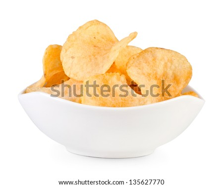Potato chips bowl isolated on white - stock photo