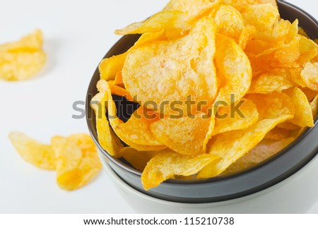 Potato chips. Close-up - stock photo