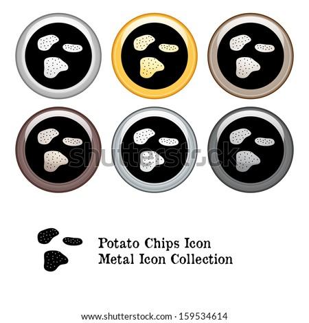 Potato Chips Icon Metal Icon Set.  Raster version. - stock photo