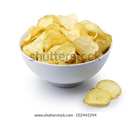Potato chips in bowl isolated on white, clipping path included - stock photo