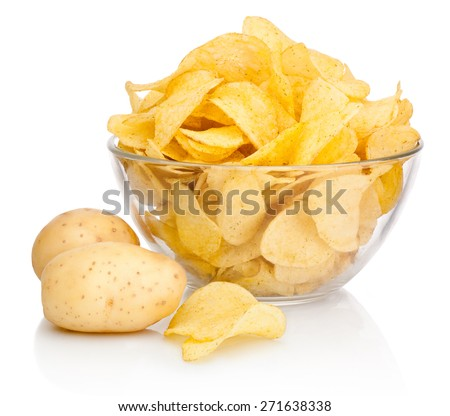 Potato chips in glass bowl isolated isolated on white background - stock photo