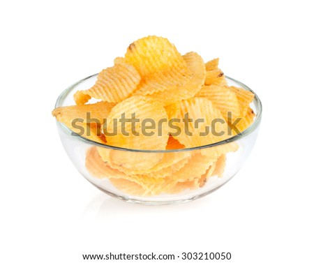 Potato chips in glass bowl. Isolated on white background - stock photo