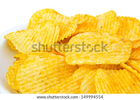 Potato chips in white back ground.