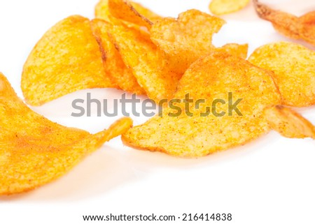 Potato chips in white background
