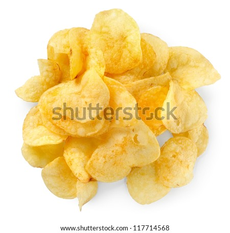 Potato chips isolated - stock photo