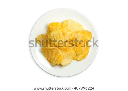 Potato Chips isolated , clipping path - stock photo