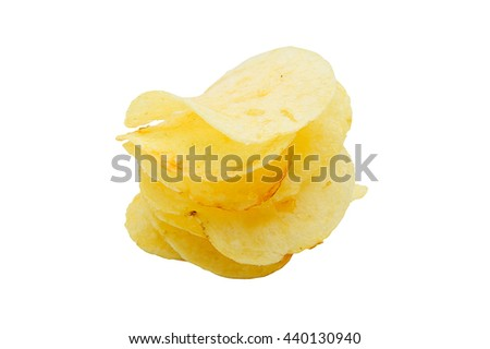 Potato chips isolated on a white background.