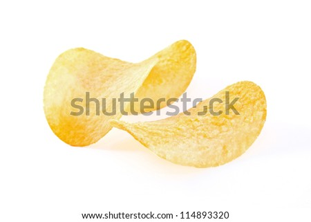 potato chips isolated on the white background - stock photo