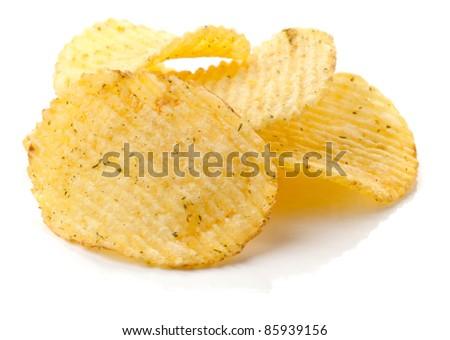 Potato chips isolated on white background - stock photo