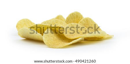 Potato chips isolated on white background. Clipping path included in jpg.
