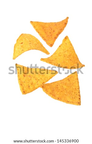 Potato chips isolated on white background on Food and Drink - stock photo