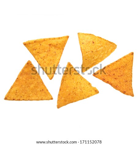 Potato chips isolated on white background on Food and Drink
