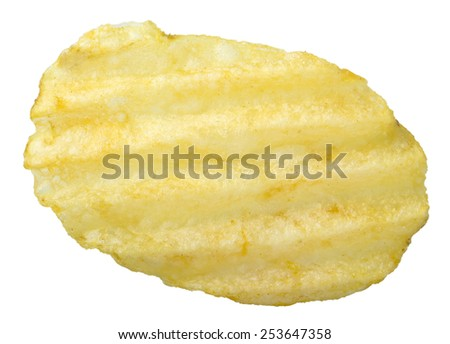 Potato chips isolated on white background with clipping path - stock photo